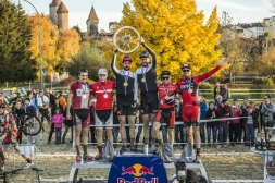 The winners Lukas Winterberg, Nicola Rohrbach (1st), Simon Andreassen, Sebastian Fini Carstensen (2nd) and Lukas Flückiger, Mathias Flückiger (3rd) celebrate their wins in the elite category at the Red Bull Velodux in Estavayer-Le-Lac, Switzerland on November 7th, 2015